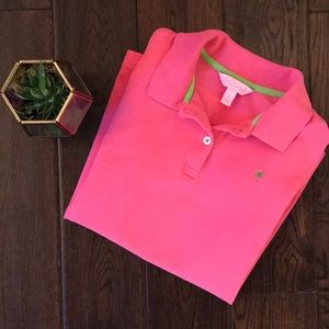 Lilly Pulitzer sz small pink polo top EUC